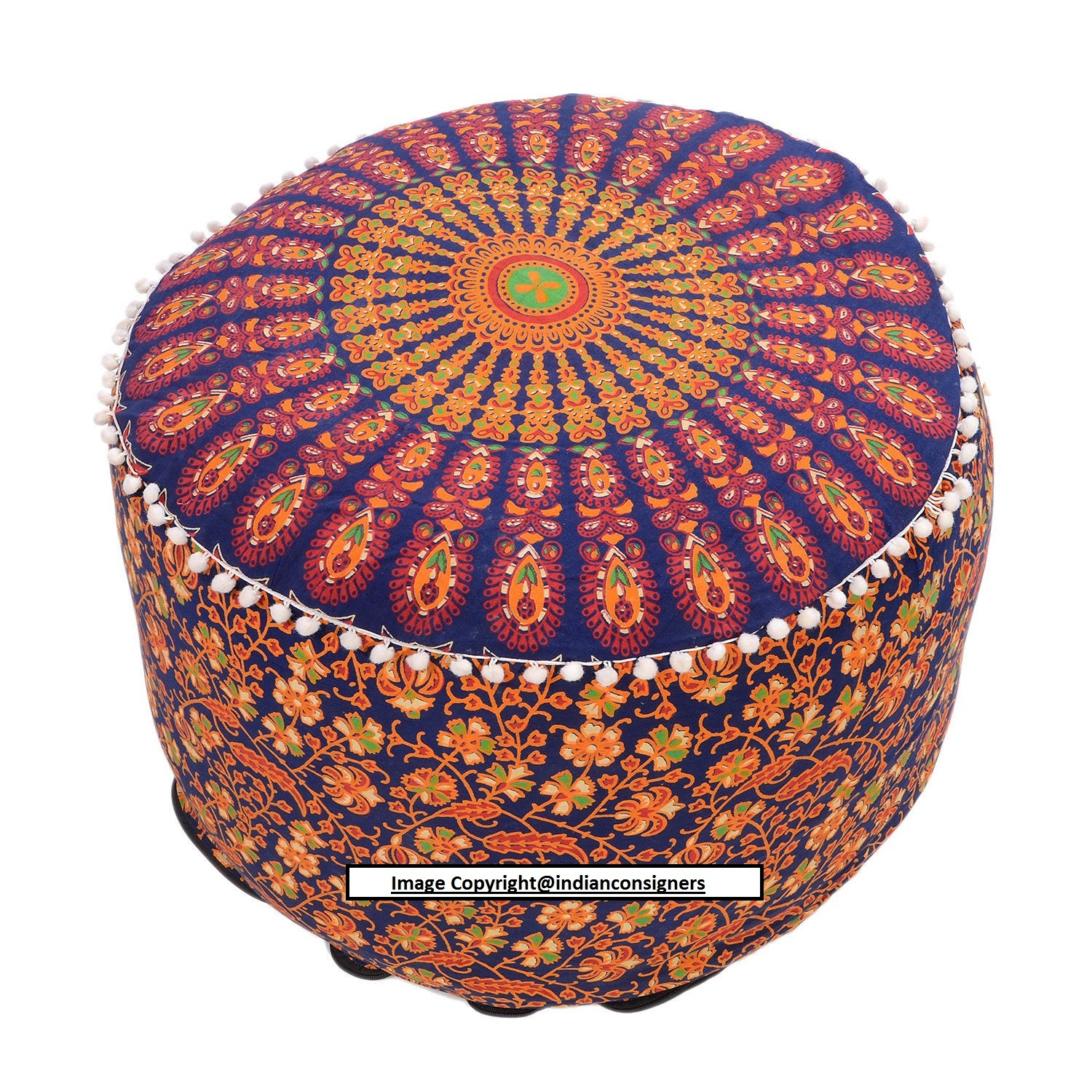 Picture of: Ombre Mandala 22 Inch Ottoman Round Seat Cover Chair Home Decor Handmade Cotton Indian Consigners